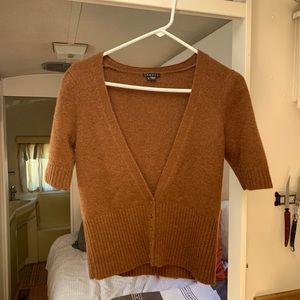 Short sleeve cashmere Brown cardigan